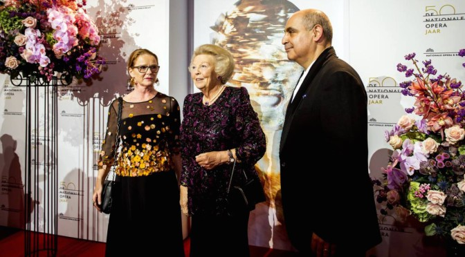 Flowers on the red carpet at the Opera Gala in Amsterdam
